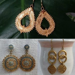 3 Pairs of Gold Dangle Earrings